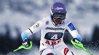 Šárka Strachová v prvním kole slalomu v Aare.