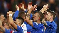Fotbalisté Islandu slaví svůj historický postup na velký turnaj.