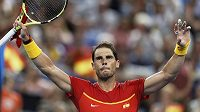Rafael Nadal se raduje z vítězství proti Pablu Cuevasovi na ATP Cupu v Perthu