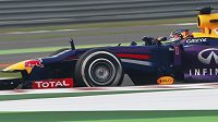 Red Bull driver Sebastian Vettel of Germany steers his car during qualifying at the Indian Formula One Grand Prix at the Buddh International Circuit in Noida, India, Saturday, Oct. 26, 2013. (AP Photo/Saurabh Das)