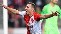 Jan Bořil ze Slavie se raduje z gólu proti Liberci.
