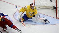 Tomáš Hertl překonává v osmé vteřině zápasu švédského brankáře Anderse Nilssona.