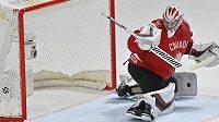 Kanadský brankář Darcy Kuemper inkasuje gól.