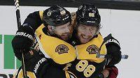Hokejisté Bostonu Bruins David Pastrňák (vpravo) a David Krejčí (vlevo) oslavují branku do sítě Winnipegu
