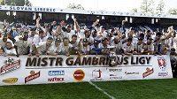 Fotbalisté Liberce se radují z mistrovského titulu