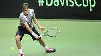 Tomáš Berdych při tréninku v Ostravě před utkáním Davisova poháru s Nizozemskem.