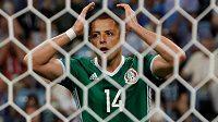 Zklamaný Javier Hernández poté, co neproměnil střeleckou příležitost.