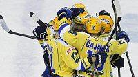 Radost hokejistů Zlína ze sezóny, kdy tým kolem forvarda Petra Čajánka získal druhý mistrovský titul v historii klubu.