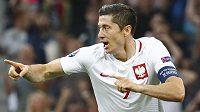 Kanonýr Robert Lewandowski dal svůj první gól na ME ve čtvrtfinále proti Portugalsku.