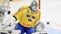 Brankář Niklas Svedberg v dresu švédské hokejové reprezentace.