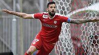 Lukáš Magera z Brna se raduje z gólu.