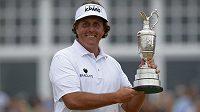Golfista Phil Mickelson po triumfu na British Open.