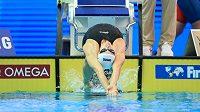 Znakařka Simona Kubová na startu rozplavby závodu na 200 m na MS v korejském Kwangdžu.