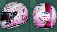 Vettelova růžová helma s mottem Změňme svět, doušek po doušku...