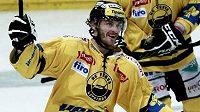 Viktor Hübl se raduje z gólu Litvínova