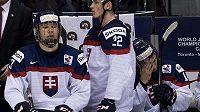Zklamaná slovenská střídačka po semifinálové prohře s Kanadou, vlevo útočník Radovan Bondra.