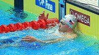 Český plavec Tomáš Franta v cíli závodu na 200 metrů znak na MS v Kwangdžu.