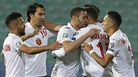 Bulhaři se radují z jediného gólu.