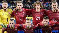 Mužstvo české fotbalové reprezentace před utkáním s Kosovem.