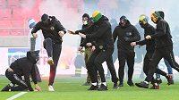Šlágr mezi Trnavou a Slovanem Bratislava se nedohrál kvůli výtržnostem fanoušků