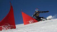 Ester Ledecká na snowboardu.
