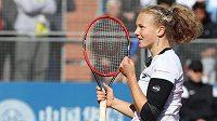 Radost české tenistky Kateřiny Siniakové po výhře v 1. kole J&T Banka Prague Open ve Stromovce.