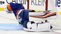 Gólman New York Islanders Thomas Greiss zasahuje proti střele Vladimíra Sobotky (není na snímku) ze St. Louis.