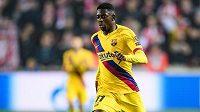 Ousmane Dembélé z Barcelony během utkání základní skupiny Ligy mistrů se Slavií