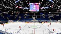 Čeští hokejisté trénovali na zimním stadiónu Ondreje Nepely v Bratislavě den před začátkem světového šampionátu.