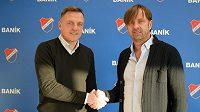 Nový trenér fotbalistů Baníku Ostrava Luboš Kozel(vlevo)a majitel ostravského klubu Václav Brabec (vpravo).