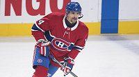 Tomáš Plekanec z Montrealu při zápase s Detroitem, který pro něj byl 1000. v NHL.