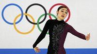 Kim Ju-na během volné jízdy na olympijských hrách v Soči.