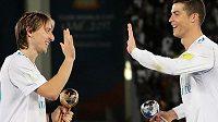 Cristiano Ronaldo a Luka Modrič během společného působení v Realu Madrid.