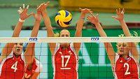 České volejbalistky Aneta Havlíčková (č. 4), Ivana Plchotová (17) a Šárka Barborková v zápase proti Thajsku.