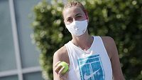 Tenistka Petra Kvitová trénovala na kurtech TK Sparta Praha.