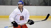 Martin Ručínský během tréninku hokejové reprezentace před dvojutkáním s Ruskem.