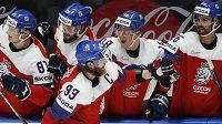 Čeští hokejisté slaví další branku