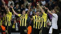 Radost fotbalistů Borussie Dortmund po postupu do finále Ligy mistrů.