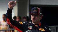 Max Verstappen slaví pole position.