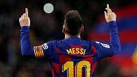 Barcelonský Lionel Messi po jednom ze svých gólů proti Celtě Vigo.