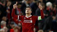 Liverpoolský Philippe Coutinho slaví gól proti Spartaku.