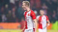 Petr Ševčík ze Slavie oslavuje gól na 2:0 v utkání 16. kola Fortuna ligy proti Teplicím