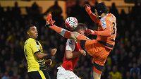 Petr Čech odkopává míč do bezpečí před Troyem Deeneym z Watfordu.