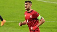 Kapitán české fotbalové jedenadvacítky Matěj Chaluš v zápase ME proti Itálii.