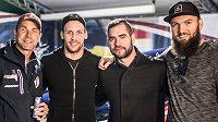Zleva Martin Šonka a hokejisté Dallas Stars Radek Faksa, Roman Polák a Martin Hanzal.