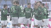 Radost hráčů Jablonce z druhého gólu.