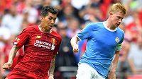 Roberto Firmino z Liverpoolu (vlevo) a Kevin De Bruyne z Manchesteru City.