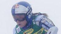 Česká lyžařka Ester Ledecká na trati prvního kola obřího slalomu žen v rakouském Söldenu.