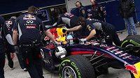 Pilot Red Bulul Sebastian Vettel v péči mechaniků při testech v Jerezu.