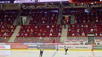 Diváci sledovali zápas hokejového Poháru Generali České pojišťovny v Karlových Varech v povinných rozestupech.